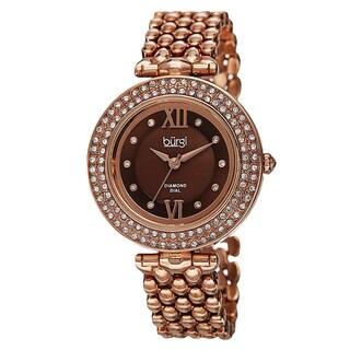 Burgi Women's Swiss Quartz Diamond Markers Alloy Rose-Tone Bracelet Watch with FREE Bangle