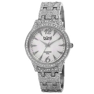 Burgi Women's Diamond Markers Mother of Pearl Quartz Silver-Tone Bracelet Watch