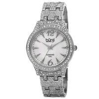 Burgi Women's Diamond Markers Mother of Pearl Quartz Silver-Tone Bracelet Watch