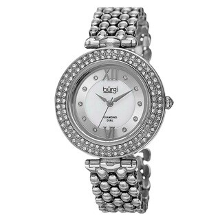 Burgi Women's Swiss Quartz Diamond Markers Alloy Silver-Tone Bracelet Watch