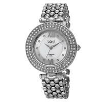 Burgi Women's Swiss Quartz Diamond Markers Alloy Silver-Tone Bracelet Watch