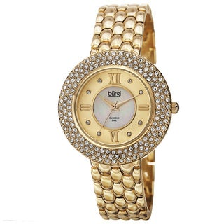 Burgi Women's Quartz Diamond Markers Brass Gold-Tone Bracelet Watch