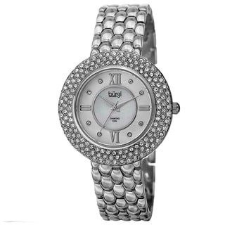 Burgi Women's Quartz Diamond Markers Brass Silver-Tone Bracelet Watch