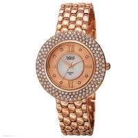 Burgi Women's Quartz Diamond Markers Brass Rose-Tone Bracelet Watch