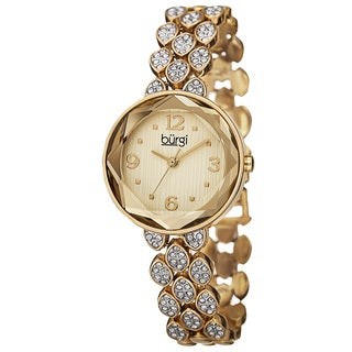 Burgi Women's Quartz Swarovski Crystals Alloy Gold-Tone Bracelet Watch with FREE Bangle