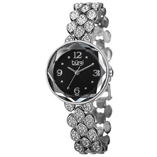 Burgi Women's Quartz Swarovski Crystals Alloy Silver-Tone Bracelet Watch