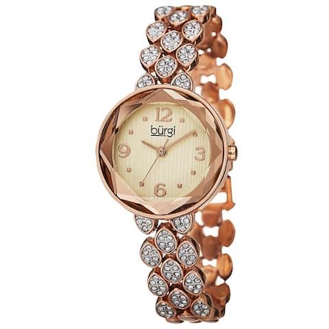 Burgi Women's Quartz Swarovski Crystals Alloy Rose-Tone Bracelet Watch