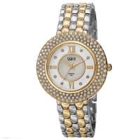 Burgi Women's Quartz Diamond Markers Brass Two-Tone Bracelet Watch