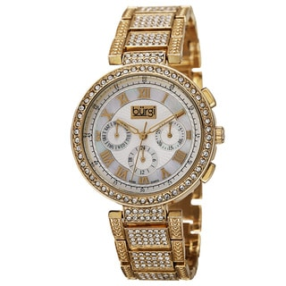 Burgi Women's Swiss Quartz Multifunction Dual-Time Crystal-Accented Gold-Tone Bracelet Watch