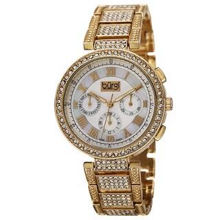 Burgi Women's Swiss Quartz Multifunction Dual-Time Crystal-Accented Gold-Tone Bracelet Watch