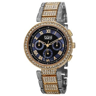 Burgi Women's Swiss Quartz Multifunction Dual-Time Crystal-Accented Two-Tone Bracelet Watch