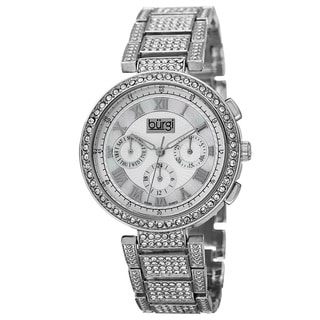 Burgi Women's Swiss Quartz Multifunction Dual-Time Crystal-Accented Silver-Tone Bracelet Watch