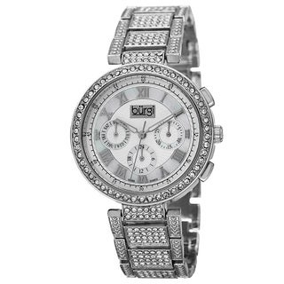 Burgi Women's Swiss Quartz Multifunction Dual-Time Crystal-Accented Silver-Tone Bracelet Watch with FREE GIFT