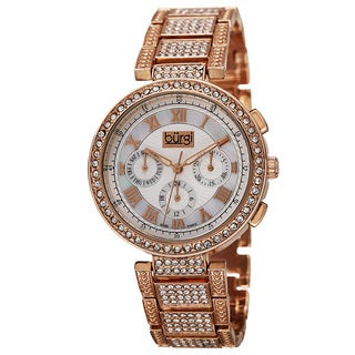 Burgi Women's Swiss Quartz Multifunction Dual-Time Crystal-Accented Rose-Tone Bracelet Watch