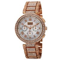 Burgi Women's Swiss Quartz Multifunction Dual-Time Crystal-Accented Rose-Tone Bracelet Watch