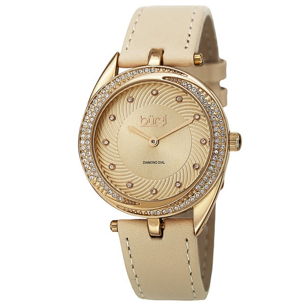 Burgi Women's Quartz Diamond Markers Leather Gold-Tone Strap Watch