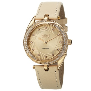 Burgi Women's Quartz Diamond Markers Leather Gold-Tone Strap Watch with GIFT BOX