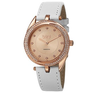 Burgi Women's Quartz Diamond Markers Leather White Strap Watch with FREE Bangle