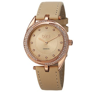 Burgi Women's Quartz Diamond Markers Leather Rose-Tone Strap Watch