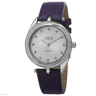 Burgi Women's Quartz Diamond Markers Leather Purple Strap Watch