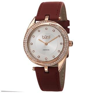 Burgi Women's Quartz Diamond Markers Leather Strap Watch