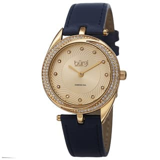 Burgi Women's Quartz Diamond Markers Leather Blue Strap Watch with FREE GIFT|https://ak1.ostkcdn.com/images/products/10061961/P17206982.jpg?impolicy=medium