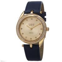 Burgi Women's Quartz Diamond Markers Leather Blue Strap Watch
