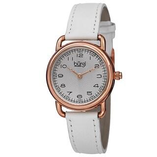 Burgi Women's Quartz Arabic Numeral Markers Leather White Strap Watch