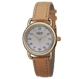 Burgi Women's Quartz Arabic Numeral Markers Leather Strap Watch