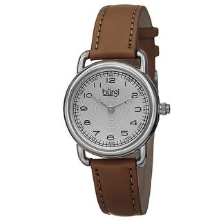 Burgi Women's Quartz Arabic Numeral Markers Leather Silver-Tone Strap Watch