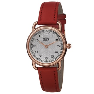 Burgi Women's Quartz Arabic Numeral Markers Leather Red Strap Watch