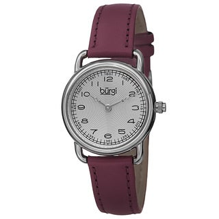Burgi Women's Quartz Arabic Numeral Markers Leather Purple Strap Watch