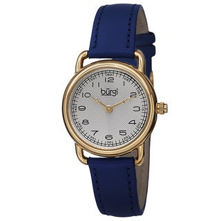 Burgi Women's Quartz Arabic Numeral Markers Leather Blue Strap Watch