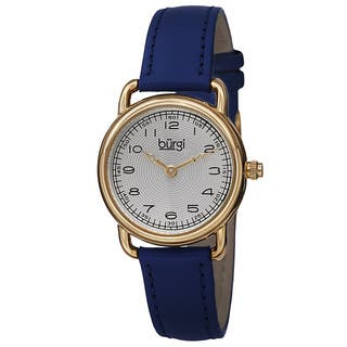 Burgi Women's Quartz Arabic Numeral Markers Leather Blue Strap Watch with FREE GIFT https://ak1.ostkcdn.com/images/products/10061971/P17206989.jpg?impolicy=medium