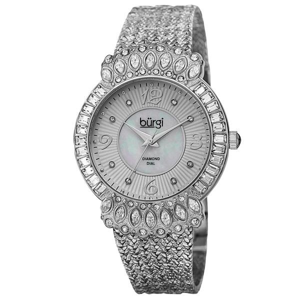 Burgi Exquisite Women's Quartz Diamond Silver-Tone Bracelet Watch with FREE Bangle