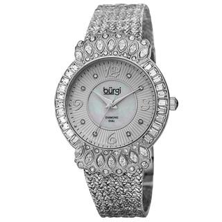 Burgi Exquisite Women's Quartz Diamond Silver-Tone Bracelet Watch with FREE GIFT