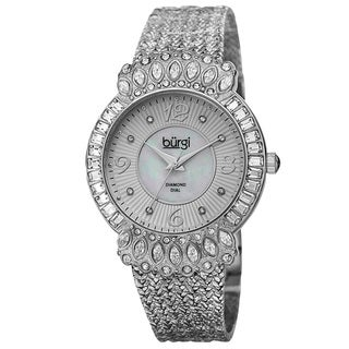 Burgi Exquisite Women's Quartz Diamond Silver-Tone Bracelet Watch with FREE Bangle