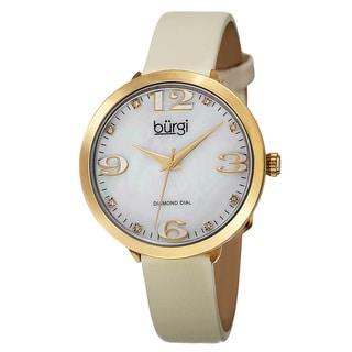 Burgi Classic Women's Quartz Diamond Markers Leather Gold-Tone Strap Watch
