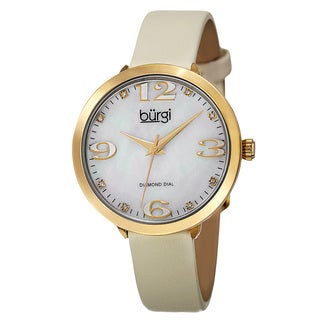 Burgi Classic Women's Quartz Diamond Markers Leather Gold-Tone Strap Watch with FREE GIFT