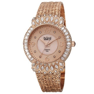 Burgi Exquisite Women's Quartz Diamond Rose-Tone Bracelet Watch with FREE Bangle