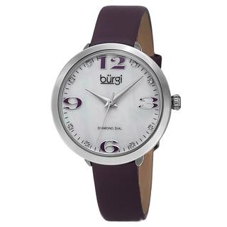 Burgi Classic Women's Quartz Diamond Markers Leather Purple Strap Watch with FREE GIFT