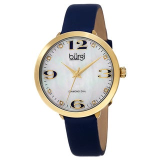 Link to Burgi Classic Women's Quartz Diamond Markers Leather Blue Strap Watch Similar Items in Women's Watches