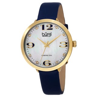 Burgi Classic Women's Quartz Diamond Markers Leather Blue Strap Watch with FREE Bangle
