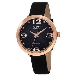 Burgi Classic Women's Quartz Diamond Markers Leather Black Strap Watch