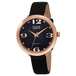 Burgi Classic Women's Quartz Diamond Markers Leather Black Strap Watch