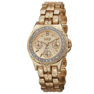 Burgi Women's Quartz Diamond Marker Multifunction Alloy Gold-Tone Bracelet Watch