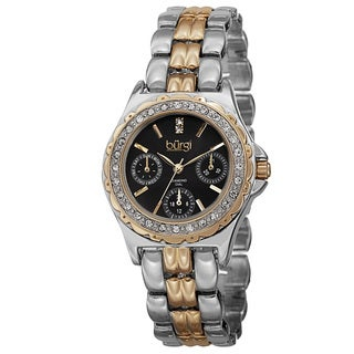 Burgi Women's Quartz Diamond Marker Multifunction Alloy Two-Tone Bracelet Watch