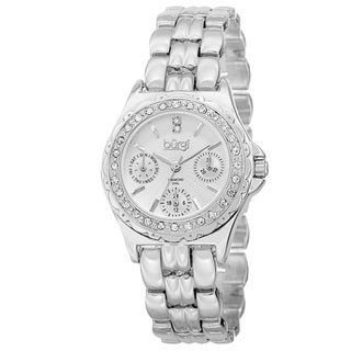 Burgi Women's Quartz Diamond Marker Multifunction Alloy Silver-Tone Bracelet Watch