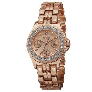 Burgi Women's Quartz Diamond Marker Multifunction Alloy Rose-Tone Bracelet Watch