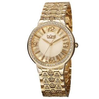 Burgi Women's Swiss Quartz Crystal-Accented Brass Gold-Tone Bracelet Watch with FREE Bangle